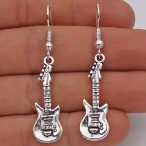 Guitar 925 Sterling Silver Dangle earrings